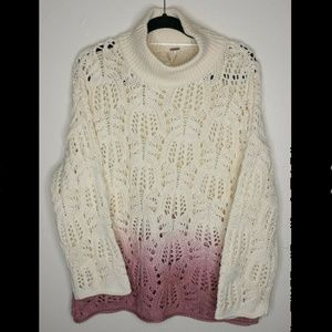 NEW Free People Ombre Open Knit Turtleneck Small